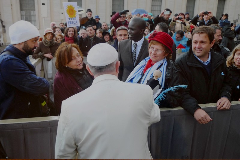 Pope Francis lays hands in blessing on FESCA Scleroderma Patients at audience in Rome